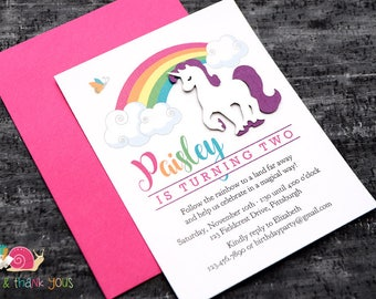 Rainbow Unicorn Birthday Party Invitations · A2 FLAT · Magical Rainbow Party | Enchanted Unicorn Birthday Invites