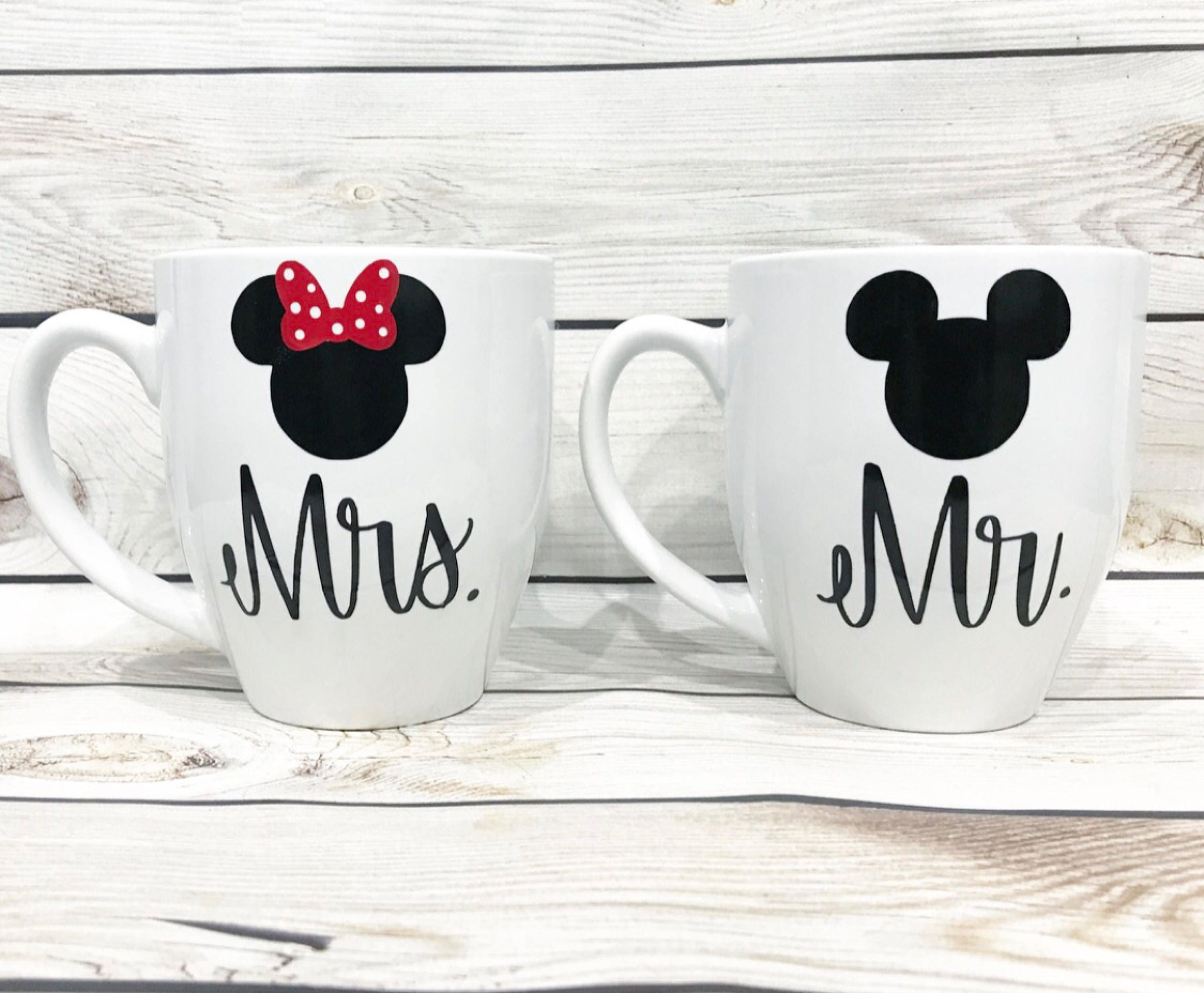 Coffee Mugs set of 2 Mr. and Mrs. his and hers Mickey and