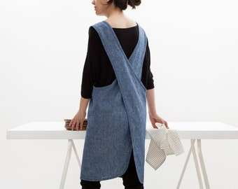 FREE Shipping! Crisscrossed Japanese 100% Linen Apron/Pinafore