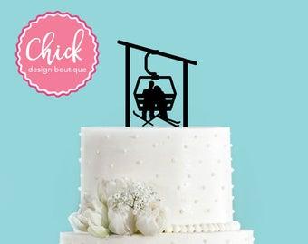Winter Skiing Ski Lift Gondola Couple Bride and Groom Winter Wedding Acrylic Wedding Cake Topper
