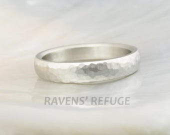 hammered domed wedding ring in 14k white gold -- 4mm wide, comfort fit brushed wedding band