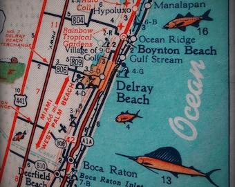Delray Boynton Boca Raton Hillsboro beach retro beach map print funky vintage turquoise photo of Florida East Coast