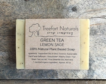 Green Tea Lemon Sage & Aloe Soap - Handmade Cold Process, Organic, All Natural, lightly scented, vegan