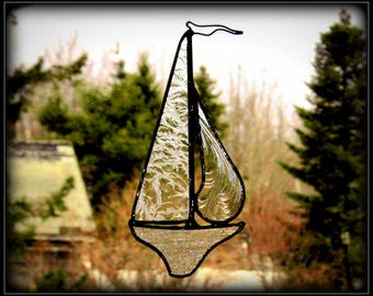 Textured Clears - Stained Glass Sailboat