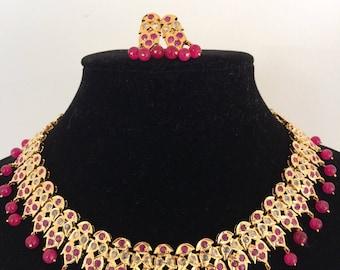 Gauhar hyderabadi jadau necklace set with earrings in rubies