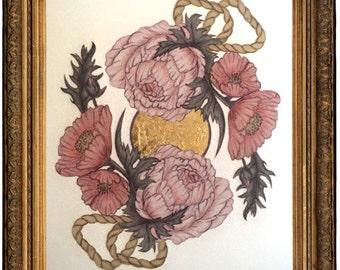 Limited Edition 8x10 Botanical Fine Art Print - Hand embellished by artist w/ metal leaf, poppy, peony, zen, gold, bohemian, wedding