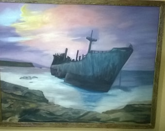 Painting with oil. It's the shipwreck of Gythio.