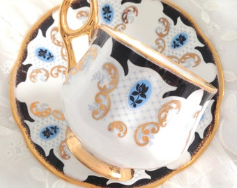 Antique English Fine Bone China Royal Kendall Tea Cup and Saucer Elegant Tea Party