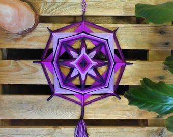 Hand knitted Mandala, variety of violet shades