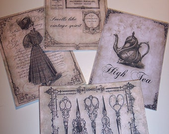 Vintage Memories Journaling Tags set of 8