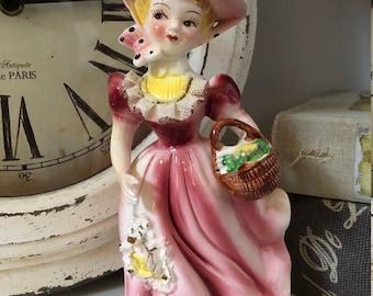Vintage Arnart Victorian Girl Figurine/Ceramic Girl/Mid Modern decor