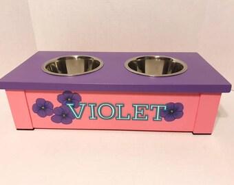 Pink Dog Bowls, Personalized Dog Bowl, Dog Bowl, Raised Dog Bowl Feeder,Dog Bowl Feeder, Dog Lover Gift, Elevated Non Slip Dog Bowl