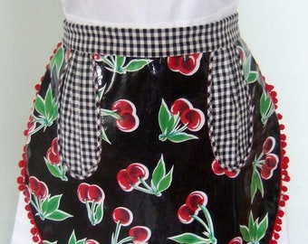 Adorable half apron with large pocket, cute and functional!