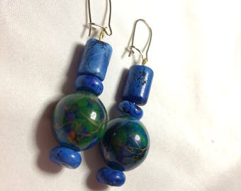 Classy Blue Marble Earrings ||| earth, globe, marbled, Stone, planet, birthday gift, Anniversary, Christmas present