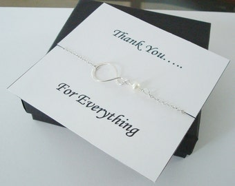 Eternity Infinity Charm with White Pearl Necklace ~~Personalized Jewelry Gift Card for Mom, Best Friend, Sister, Bridal Party, Thank You