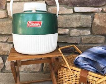 Camping Cooler /  Retro Camping Gear / Vintage Coleman Water Jug  /  Vintage Picnic Supply / Picnic Cooler / Green 1 Gallon Water Cooler
