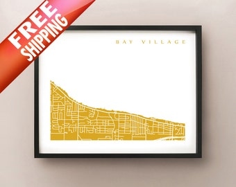 Bay Village Map - Ohio Poster Print