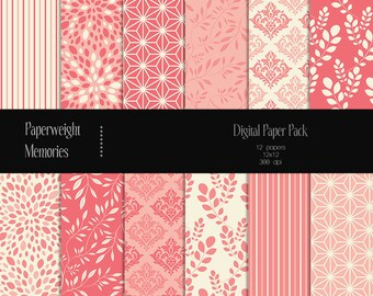 Pink Delusion - digital patterned paper - Instant Download -  digital scrapbooking - patterned paper - Commercial use