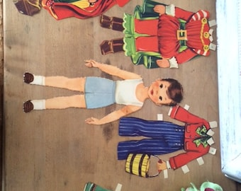 Vintage Story Book Boy Paper Doll, Original, Punched Out, Randy