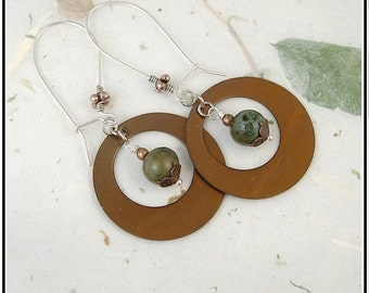 Rustic Metal And Ceramic Fancy Cowgirl Earrings To Dress Up or Down