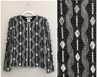 Beaded vintage Jacket black white and silver, vintage sequin jacket, party jacket, evening jacket monotone geometric pattern, trophy jacket