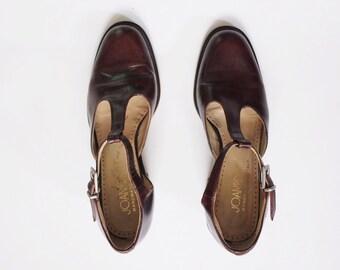 Vintage 1990s Brown T-Strap Heels | Brown Leather Shoes | T-Strap Shoes | Brown Heels | Joan & David | 6