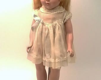 """Vintage 14"""" Composition Doll with Blonde Hair Gold & Green Sleepy Eyes and White Dress Antique"""