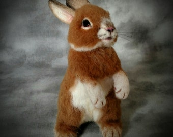 OOAK Needle felted Alpaca Life Size Baby Bunny Rabbit Poseable Tan and white by ODACA Artist Stevi T.  Free shipping