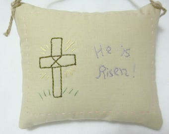 Easter He Is Risen Embroidered Mini Pillow Hanging Pillow