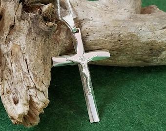 Sterling Silver Cross Necklace, Modern Cross Necklace, Crucifix Cross Pendant, Solid Silver Cross Necklace, Silver Crucifix Necklace