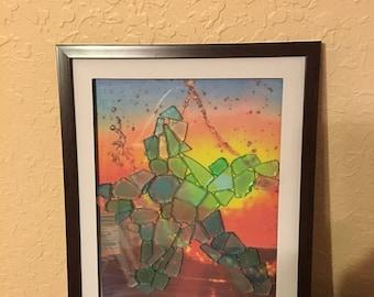 Beach Glass Art, Beach Decor, Sea Glass Art, Sea Glass Wall Art, Nautical Decor, Coastal DecorSeaglass starfish
