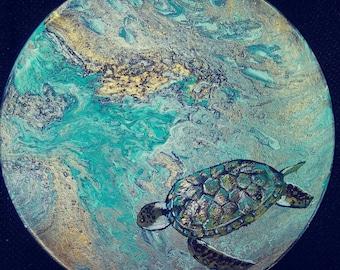 Handpainted Turtle memory storage box