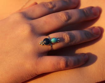 Size 7: Lapis Lazuli and Turquoise silver ring