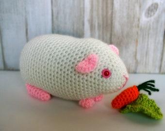 White Guinea Pig, Albino, Crochet, Amigurumi, Stuffed Animal, Plush