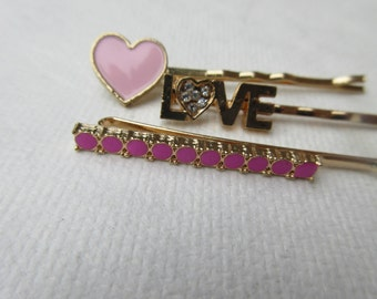 Vintage bobby pins Pink Love hair pin set Heart Bobby Pins Boho chic Crystal hair jewels bohemian Accessory valentines Sparkle girl gift