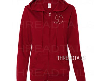 Monogrammed Jacket | Personalized Initial | Rhinestone Letter | Red Hoodie - Full Zip Hooded Sweatshirt with Bling Personalized Letter