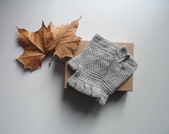 Crochet Lace Gloves, Bridal Crochet Gloves, Gray Cotton Gloves, Half Finger Gloves, Crochet Fingerless Gloves, Vintage Wedding Gloves