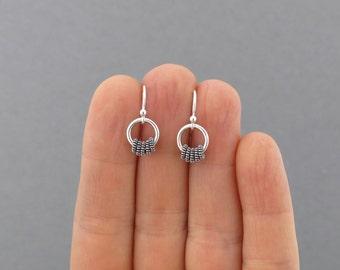 Tiny Silver Hoop Earrings Silver Bead Earrings Everyday Jewelry Bohemian Jewelry Silver Drop Earrings Simple Jewelry - Tiny Coils
