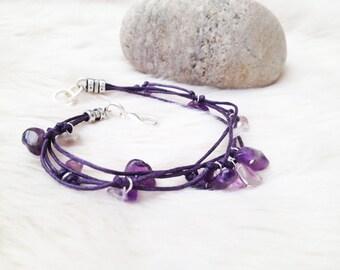 Amethyst bracelet.  Beaded gemstone purple cord bracelet. February birthstone /  birthday. Amethyst jewellery.