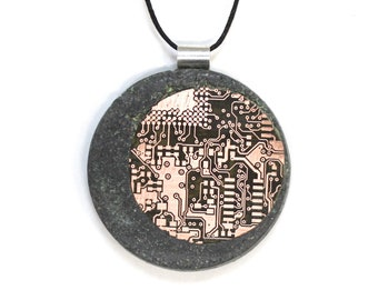 Handcrafted Concrete Jewelry Pendant with Copper Circuitry Inlay