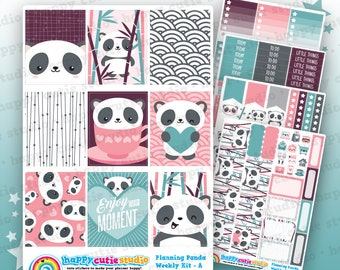 Planning Panda/Cute Panda Bear/Bamboo Weekly Kit, Planner Stickers, Erin Condren Vertical, Kawaii, Cute Sticker, UK