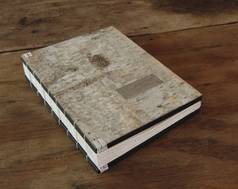 birch wedding guest book -  bark wood book - personalized rustic cabin guest book - handmade journal - natural white - made to order