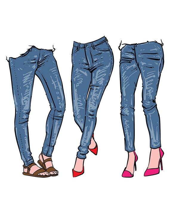 hand drawn women s fashionable denim jeans clipart rh etsy com Its Jeans Day Clip Art Jeans Day Clip Art