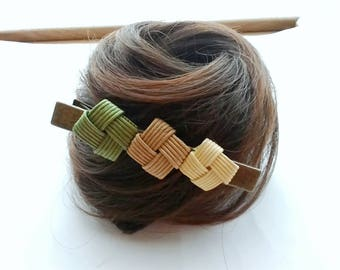 Green hair clip, hair clip green, hair clip, Japanese, gift, kimono, simple, rustic, eco friendly,
