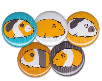 Happy Guinea Pigs Pin Set of 5 One Inch Pinback Buttons