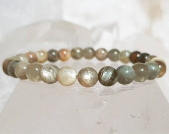 ॐ Gray Sunstone Bracelet 6mm ॐ Mala Bracelet - Yoga Bracelet - Meditation - Reiki Bracelet 6 mm
