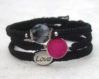 Stack macrame bracelets, inspiration jewelry, black friendship bracelets, druzy, rutile quartz, love bead, sterling silver, dainty, minimal