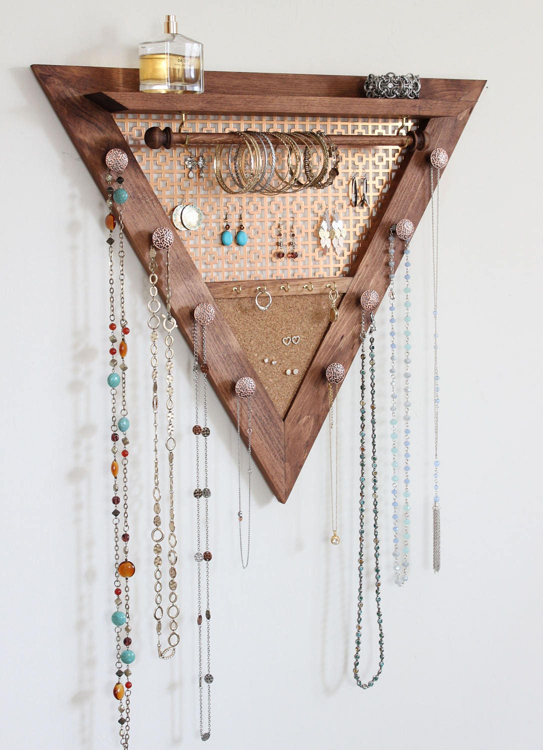 Triangle Jewelry Organizer Wooden Wall Hanging Jewelry Organizer