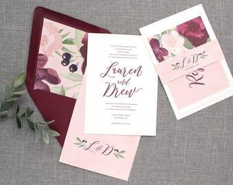 burgundy and blush wedding invitations, burgundy floral wedding, blush wedding, spring wedding, floral wedding invitations, invitation suite