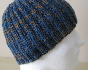 "Men's Knitted Hat ""Ethan', medium weight, made from sock yarn, reversible. Teal-tan-gray mix."